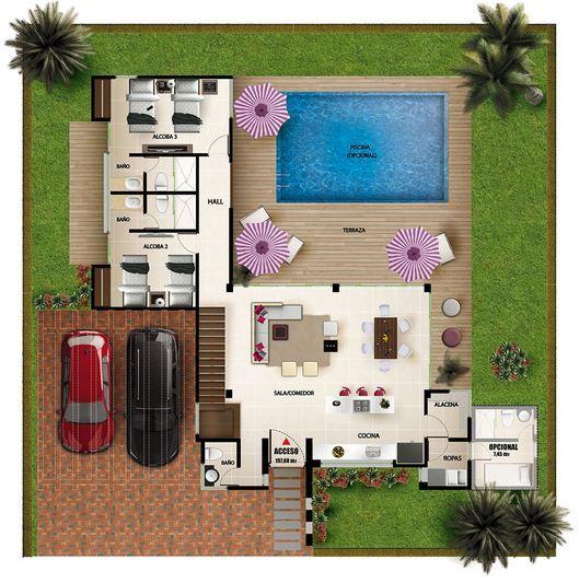 Plano de casa quinta con pileta casa quinta pinterest for Casas de campo modernas con piscina