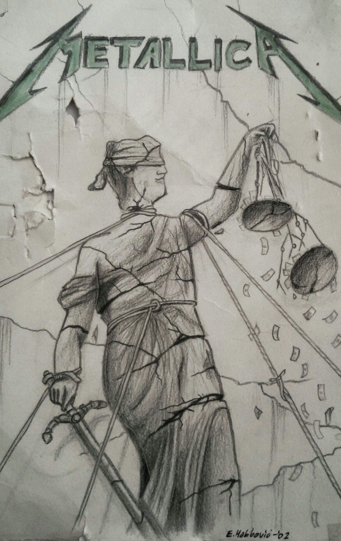 """Metallica - ...and justice for all"" album cover. Pencil ..."