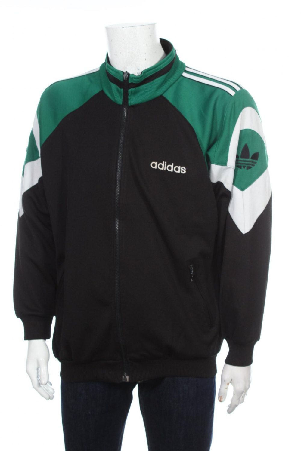 Vintage 90s Adidas Trefoil logo Windbraker Tracksuit Top jacket Color block  Black/ Green /White Size L