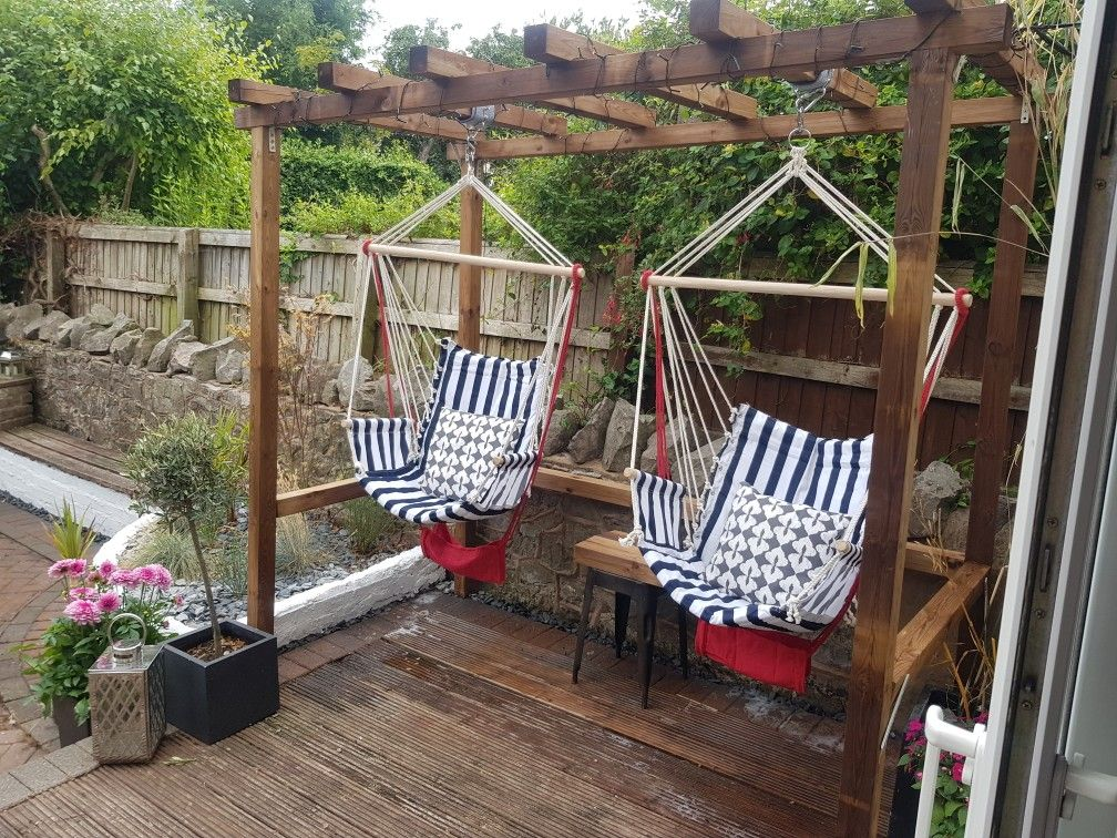 Diy pergola for my two hammock chairs its a little