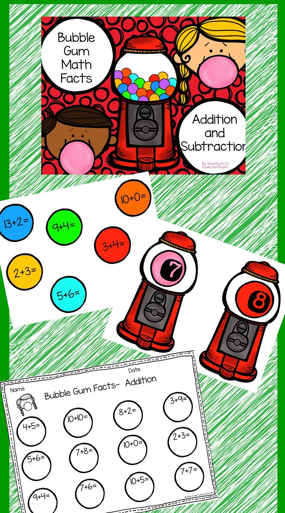 Looking For A Fun Way For Your Students To Practice Their Addition And Subtraction Skills Bubble Gum Math Is T Math Worksheets Math Facts Kids Math Worksheets [ 1728 x 960 Pixel ]
