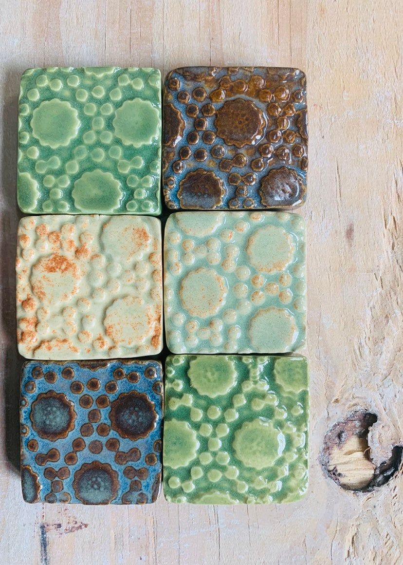 Textured Ceramic Tile Mosaic Backsplash Subway Tile Kitchen Bath Shower Fireplace Art Tile Flower Blue Pattern Tile Home Decor Tiles Texture Handmade Tiles Ceramic Texture