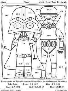 may the facts be with you 2 math set of color by codes puzzle printables - Coloring Pages For 2nd Graders