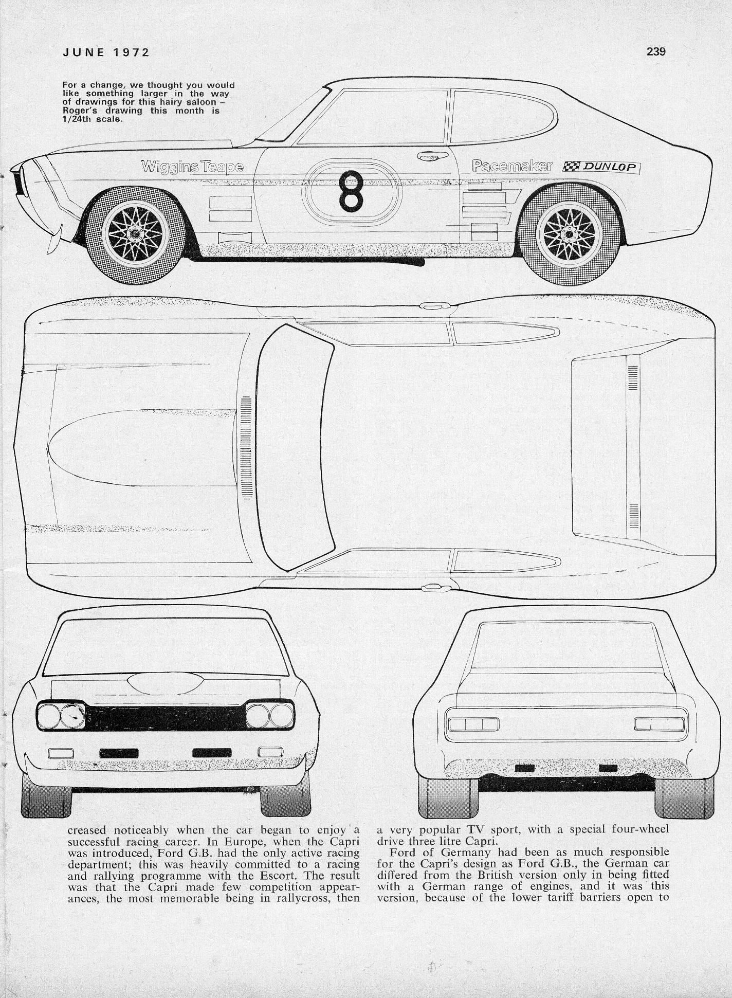 small resolution of ford capri 2600 rs ford capri blueprint drawing paper car slot cars