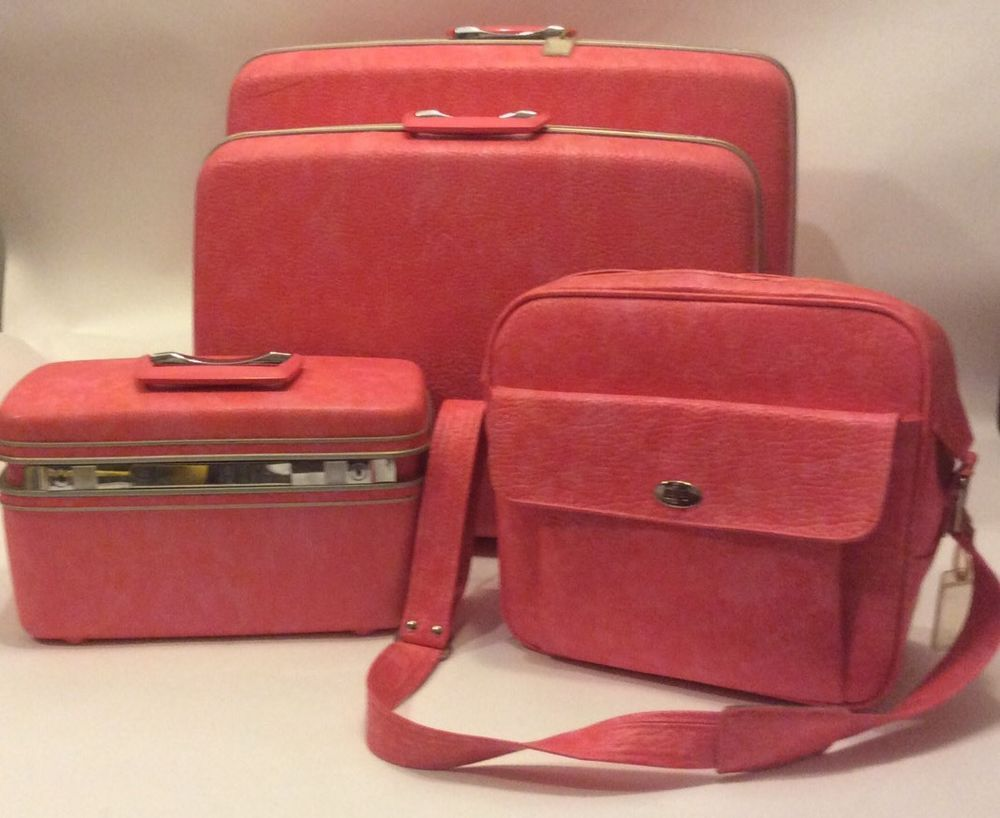 Vintage Pink Samsonite Silhouette Suit Case Set 4 Pc. Train case ...