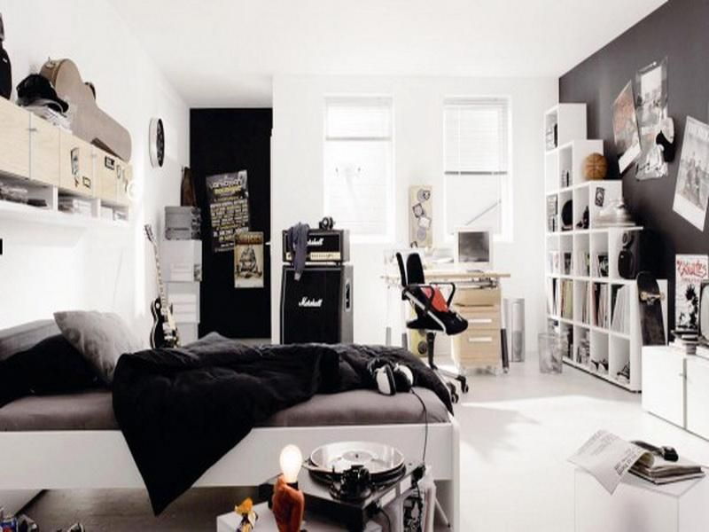 Bedroom, Top 10 Cool Kids And Teens Bedroom Design Ideas: Elegant Black And  White Teenage Boys Bedroom Design With Free Standing Bookshelf And  Beautiful ...
