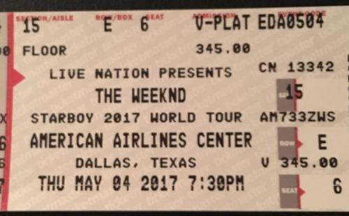 2 Weeknd Floor Tickets Floor 15 Row E V Plat American Airlines Center The Row Flooring