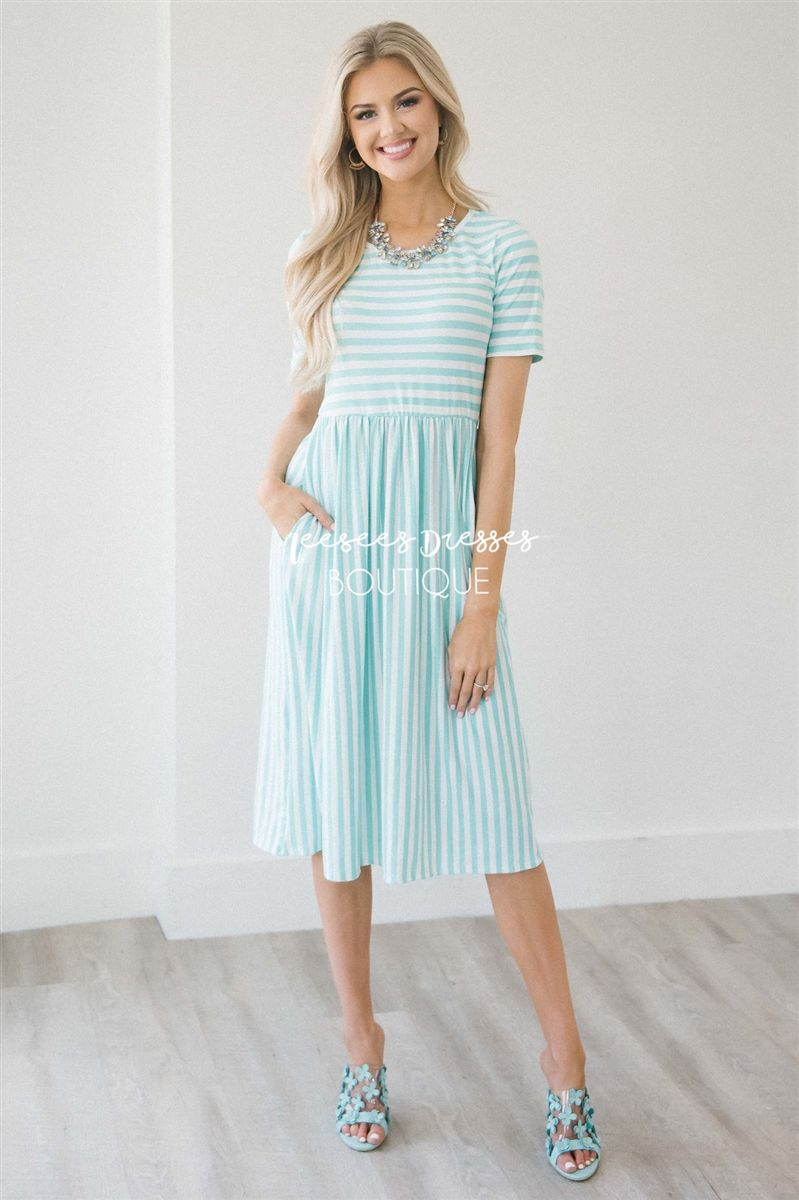 68f6696f0ad1 White Mint Stripe Pocket Dress | Best Place To Buy Modest Dress Online | Modest  Dresses and Skirts for Church