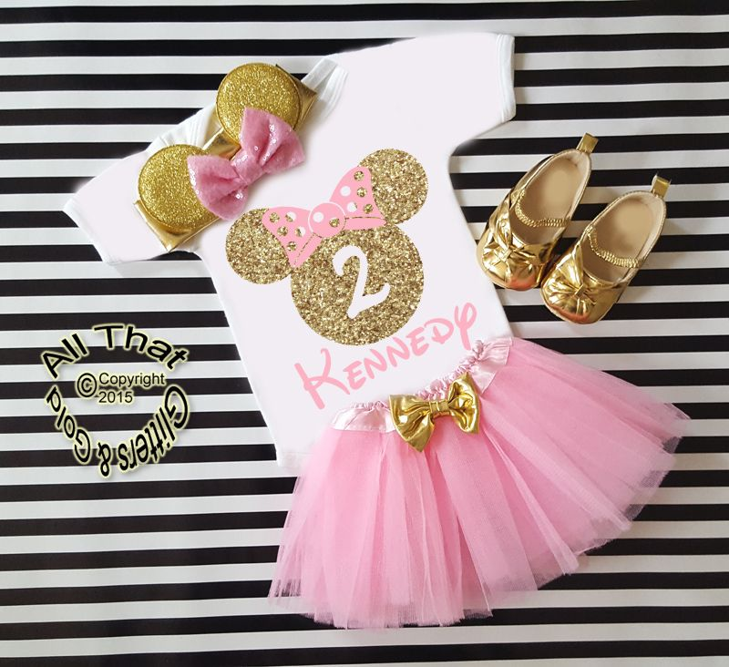 Pink And Gold Glitter Birthday Minnie Birthday Tutu Outfit Age 1 To