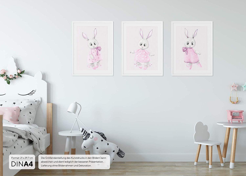 Wandbilder 3er Set für Baby & Kinderzimmer Deko Poster