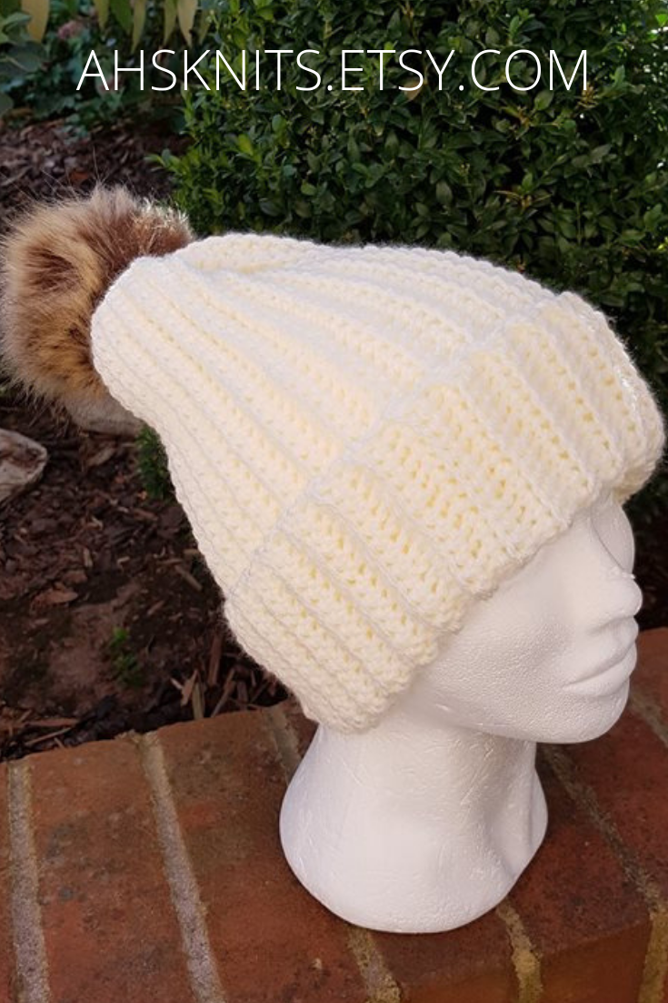 015f222c2f2 Free delivery UK. Cream slouchy hat with faux fur pompom. Handmade beanie  hat  handmade  beanie  slouchy  hats  womensfashion  winter  outdoor   accessories
