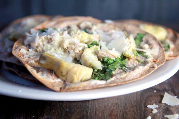 spinach, chicken, and artichoke tortilla pizzas