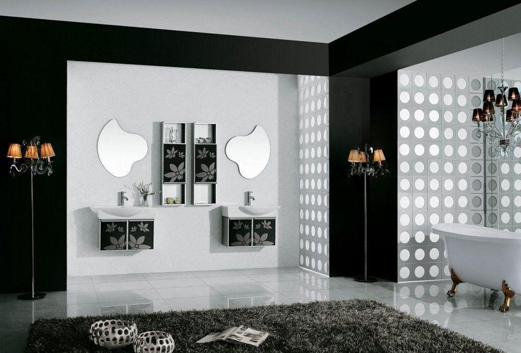 black & white bath design