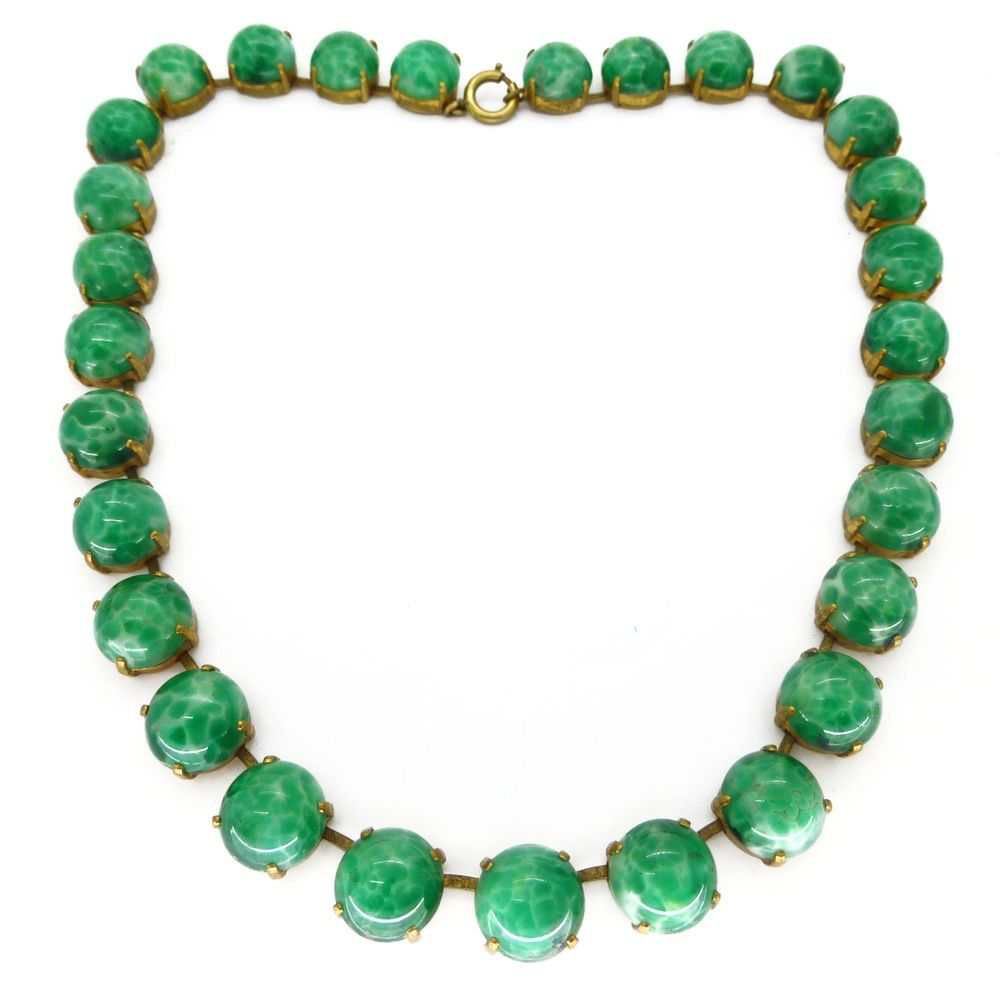 Vintage Art Deco Green Peking Glass Cabochon Necklace | Clarice Jewellery | Vintage Costume Jewellery  sc 1 st  Pinterest & Vintage Art Deco Green Peking Glass Cabochon Necklace | Clarice ...
