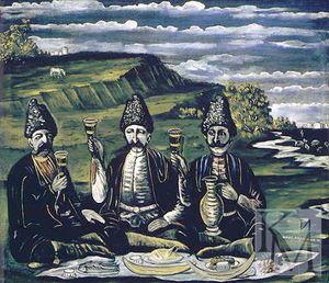 Razzle-éblouissement de trois princes - (Niko Pirosmani)