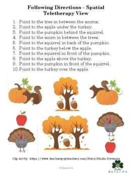 Following Spatial Directions - Autumn Theme by DESpeechie | TpT