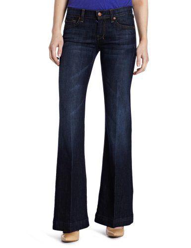 7 For All Mankind Women's Petite Dojo Flare Leg Trouser Jeans $97.61
