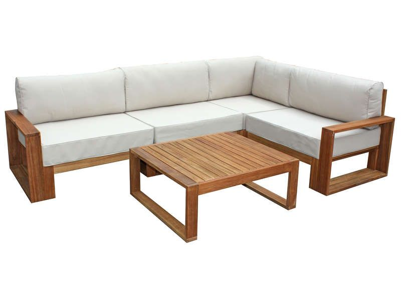 Salon d 39 angle de jardin 5 places table basse en acacia for Banquette bois exterieur