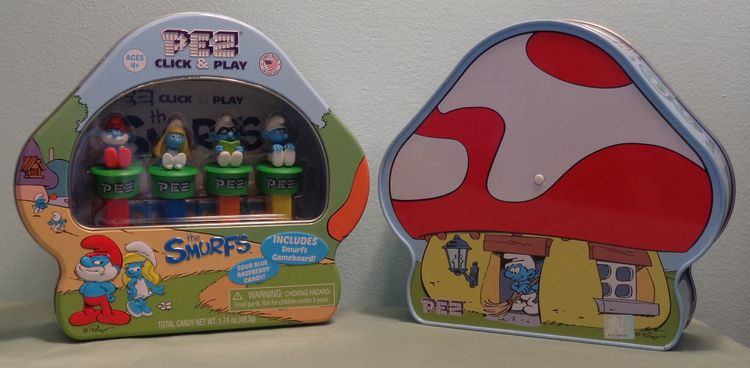 Smurfs Click and Play Pez Gift Tin with Gameboard - $13.00 : Pez Collectors Store, The Ultimate Pez Shopping Site!