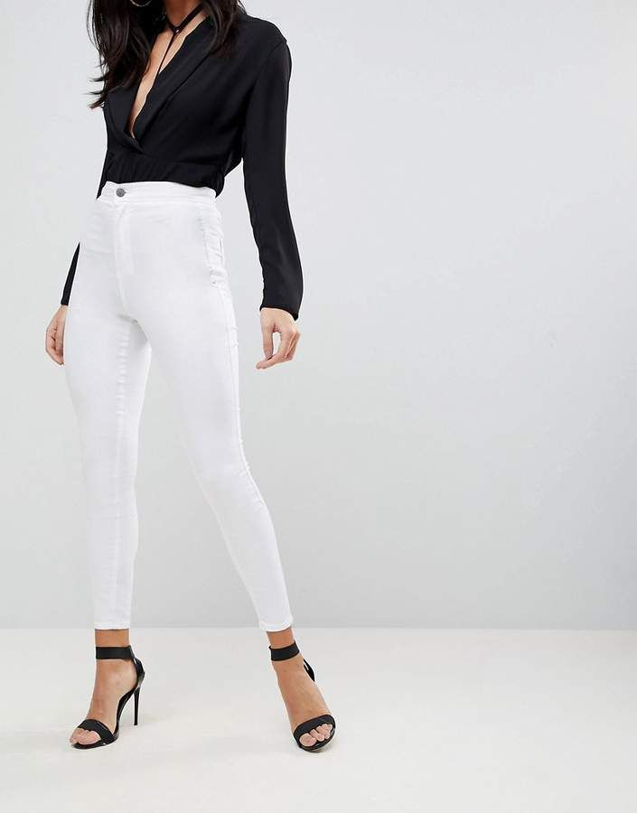 b3487a9cd162 DESIGN Rivington high waisted jeggings in optic white   Products ...