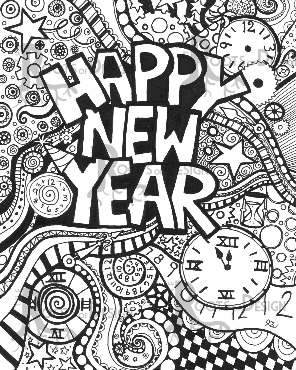 instant download coloring page happy new year art
