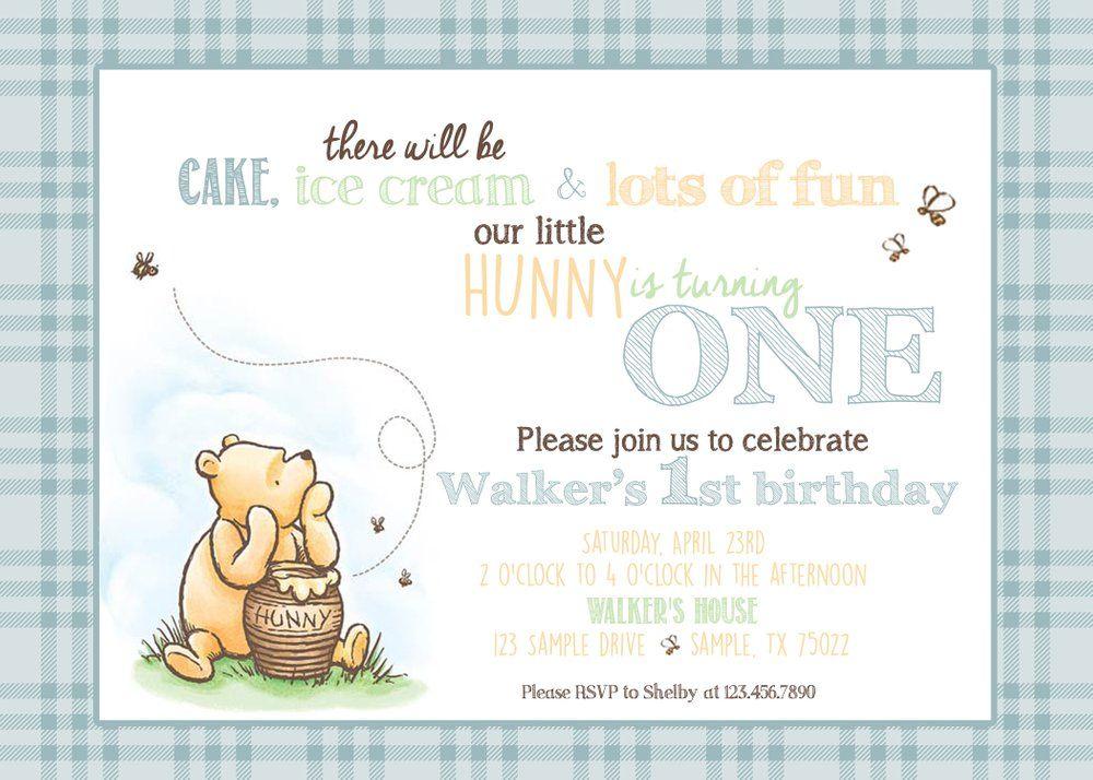Classic Winnie The Pooh Birthday Invitation Pooh Vintage Bear Hunny Bees Mint Blue Yellow Winnie The Pooh Birthday Pooh Invitation 1st Boy Birthday
