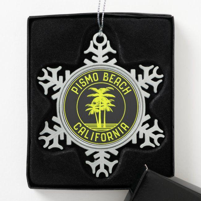 Pismo Beach California Surf Surfing Snowflake Pewter Christmas Ornament ,