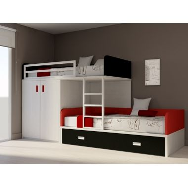 lit superpos train armoire deux portes lits rangements. Black Bedroom Furniture Sets. Home Design Ideas