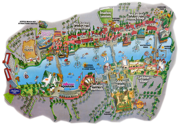Myrtle Beach Attraction Map The Best Beaches In World