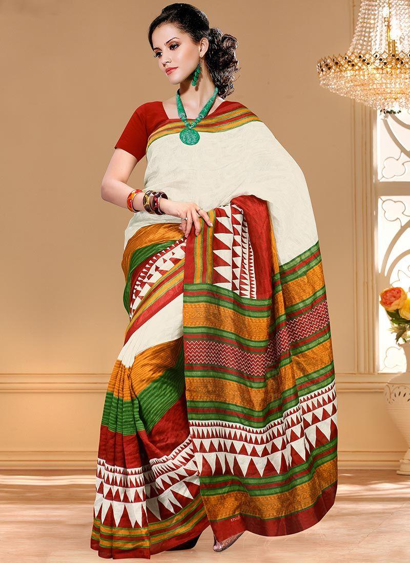 Maroon silk saree enthralling white bhagalpuri silk saree  indian fashion