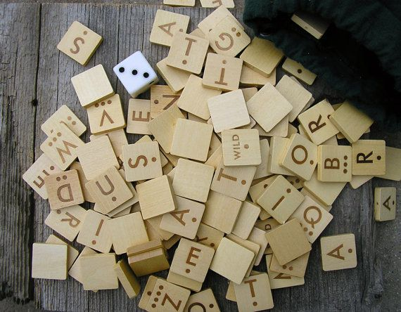 Alphabet Wooden Scrabble Game Pieces with Dice by RusticSpoonful, $8.50 #scrabble #games #crafts #diy #supplies #crafting #woodenpieces