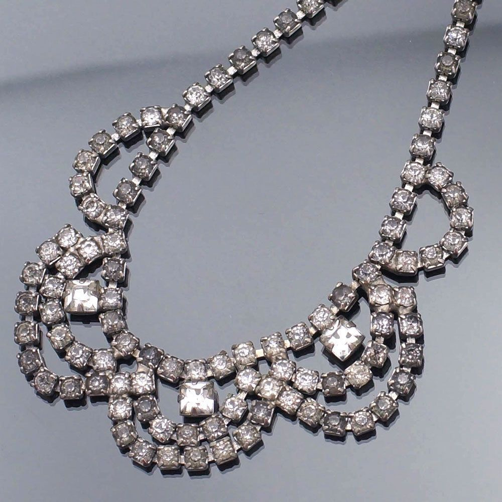 Vintage scalloped statement necklace with clear rhinestones
