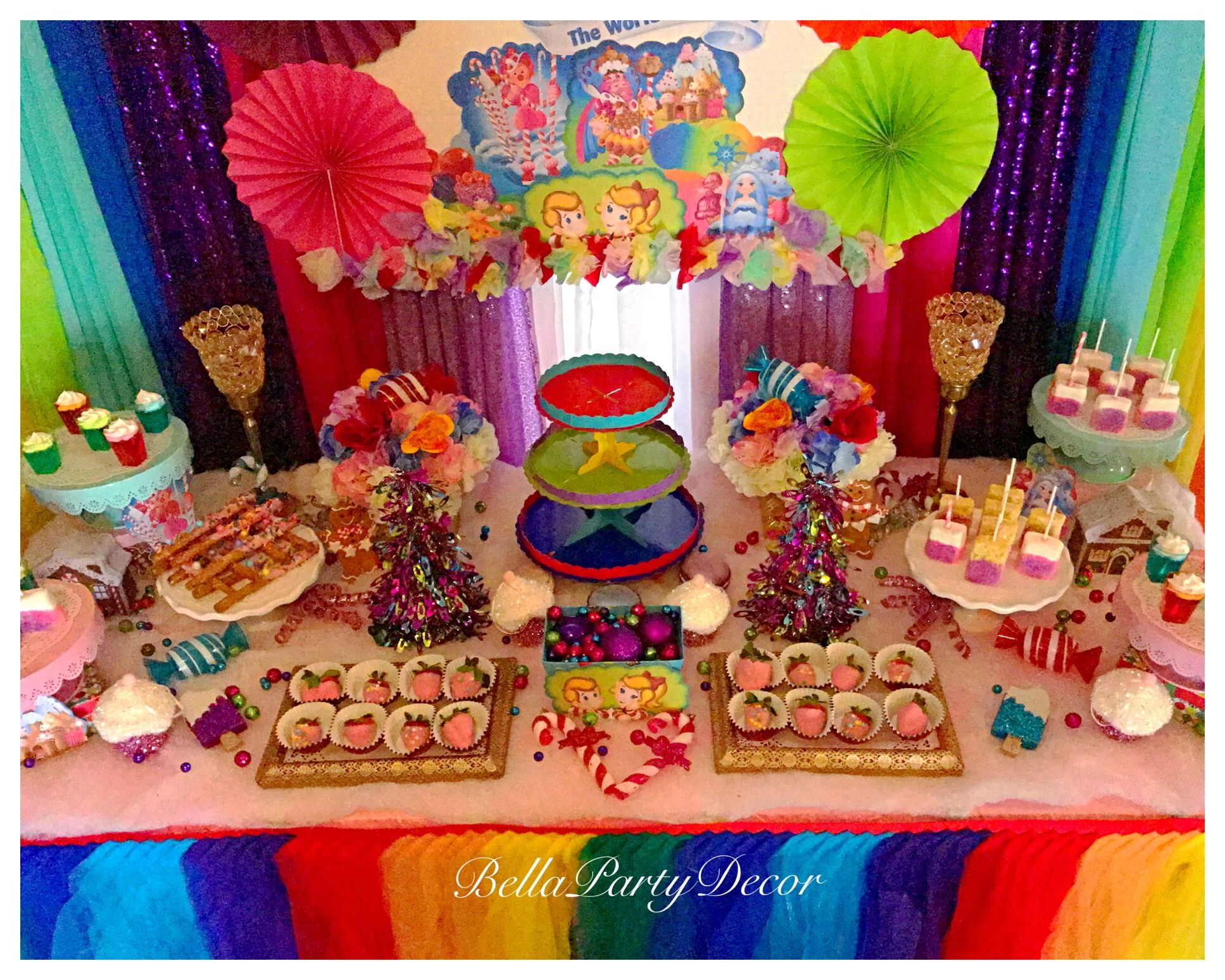 Candyland dessert table with two balloon columns