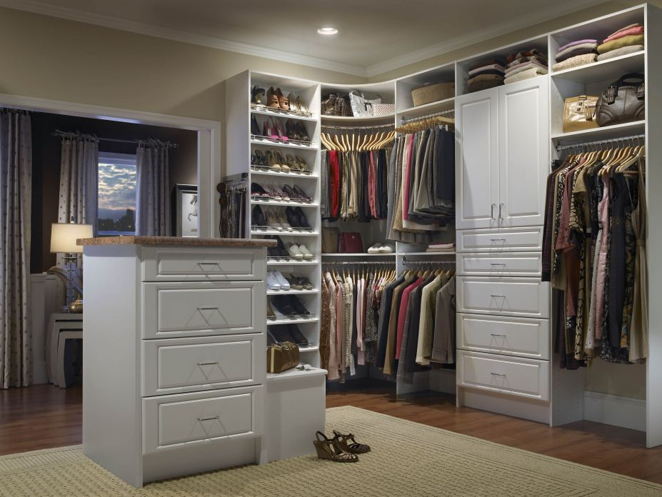 Trendy Beige Walk In Closet Design with Two