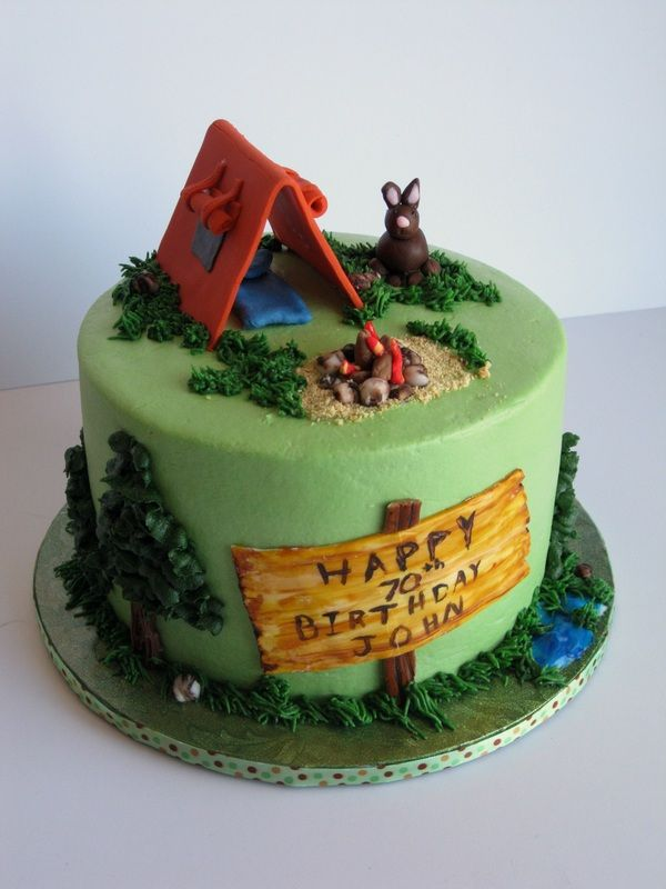 Camping themed cake Covered in buttercream with fondant accents