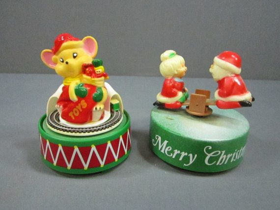 2 Vintage Christmas Music Boxes Mouse And by DiverseCollectibles #christmas #musicboxes #Santa