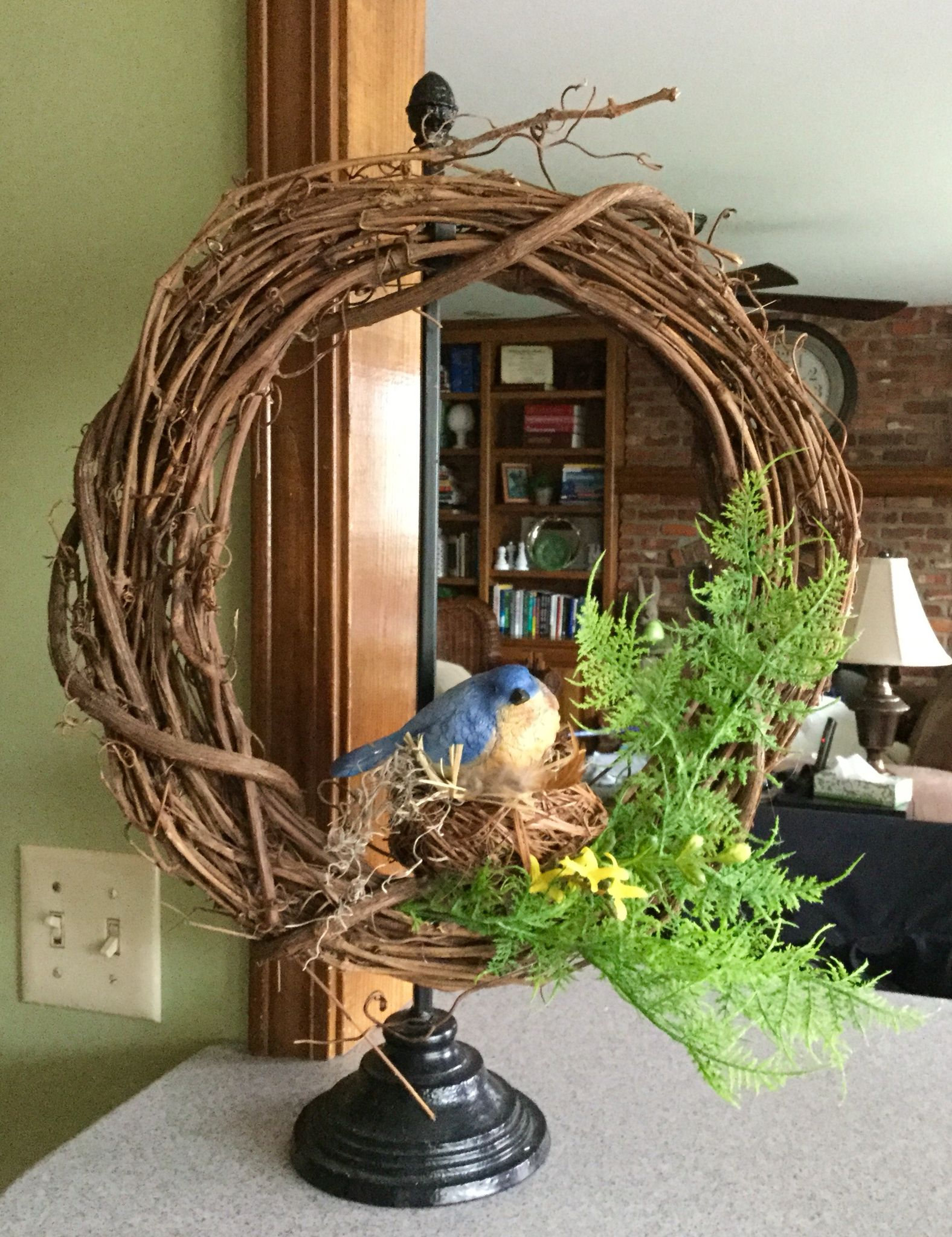 Simple Springtime Wreath Grapevine Wreath From Hobby Lobby Embellished With Sprigs Of Faux Fern Baby Te Bird Wreath Bird Nest Wreath Spring Party Decorations
