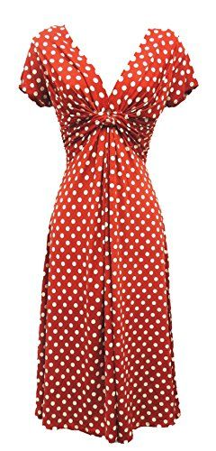 New Ladies Red Deco Polka Dot Vtg Retro WW2 Land girl 1940s/50s Pin-up Tea Dress: Rosa Rosa: Amazon.co.uk: Clothing