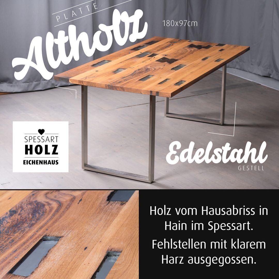 Eichenhaus Esstisch In Altholz Vom Hausabriss In Unserem Ort Fehlstellen Mit Klarem Harz Ausgegossen Eichenhaus Esstisch Altholz Tisch Esstisch Couchtisch