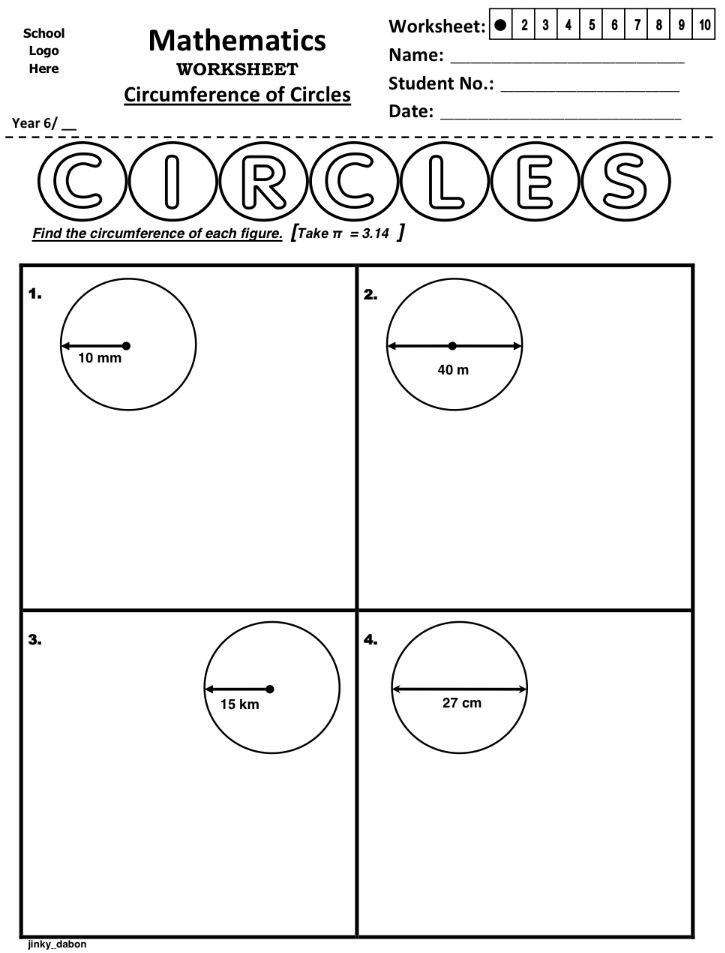 Circumference worksheets grade 8