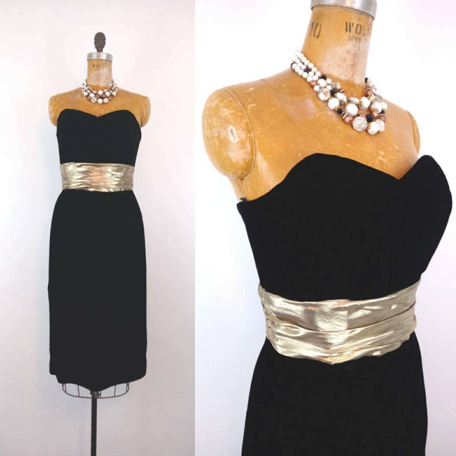 black velvet dress by Another Ann Barry Jr Size Medium vintage 1960/'s