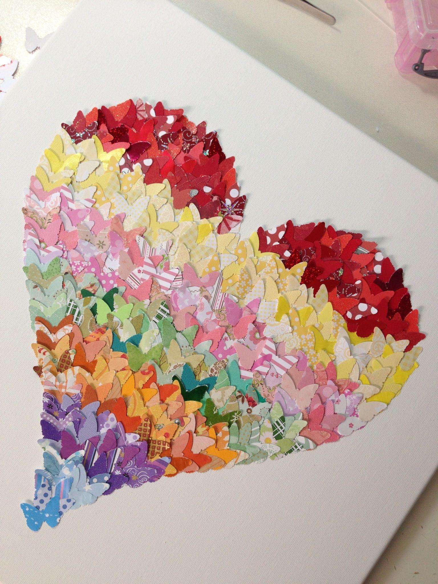 "Large rainbow butterfly heart canvas (16 x16"")"