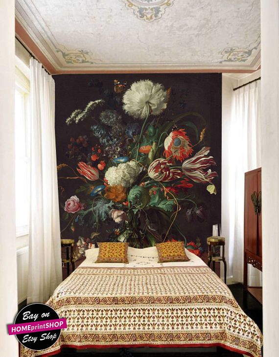 Oil Dutch Dark Painting Vintage Victorian Floral Wallpaper Wall Art Decor Removable Self Adhesive Peel And Stick Master Bedrooms Decor Home Decor Dream Decor