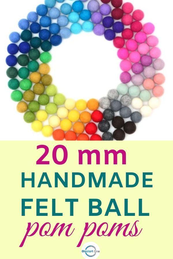 Wholesale Pom Pom 2 cm Pure wool Felt Balls Nursery Craft Beads Garland making