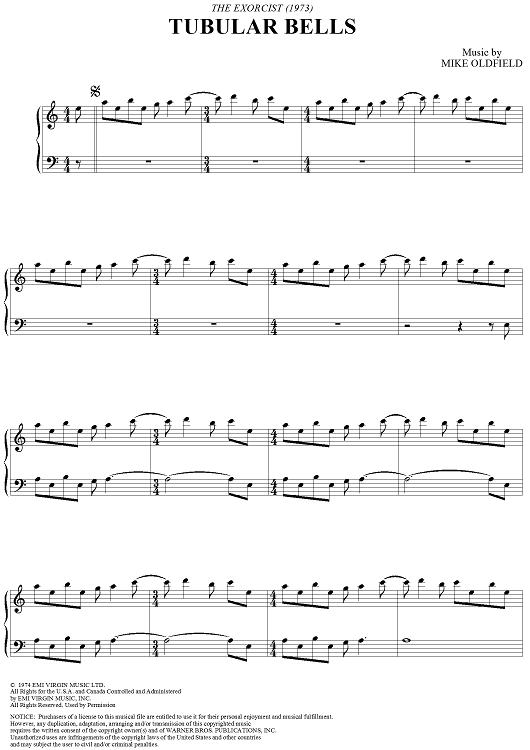 Tubular Bells Sheet Music: www.onlinesheetmusic.com