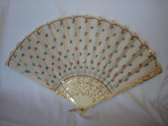 Antique French Ivory & Sequins Hand Fan - PRETTY Pink and Blue Flowers.