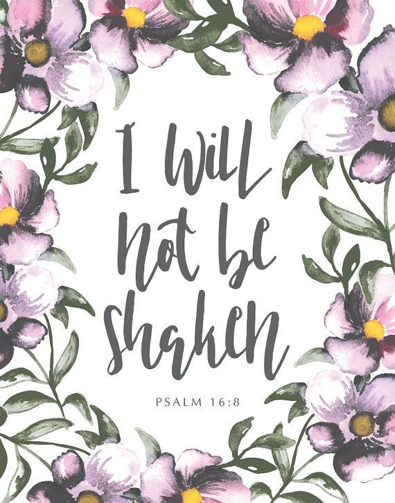 INSTANT DOWNLOAD Bible Verse Print, Inspirational quote, Kitchen Sign, Kitchen Wall Decor - I will not be shaken. Psalm 16:8
