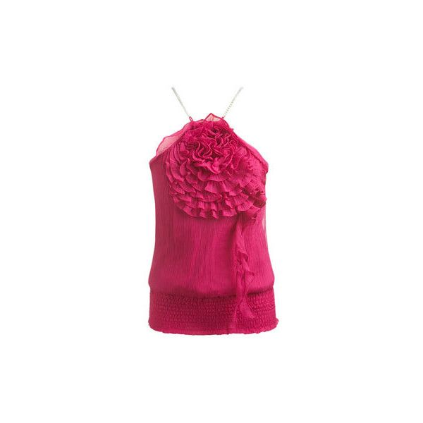 High Neck Rosette Chiffon Top, fuschia - Women's Clothing and Apparel - ($49) found on Polyvore