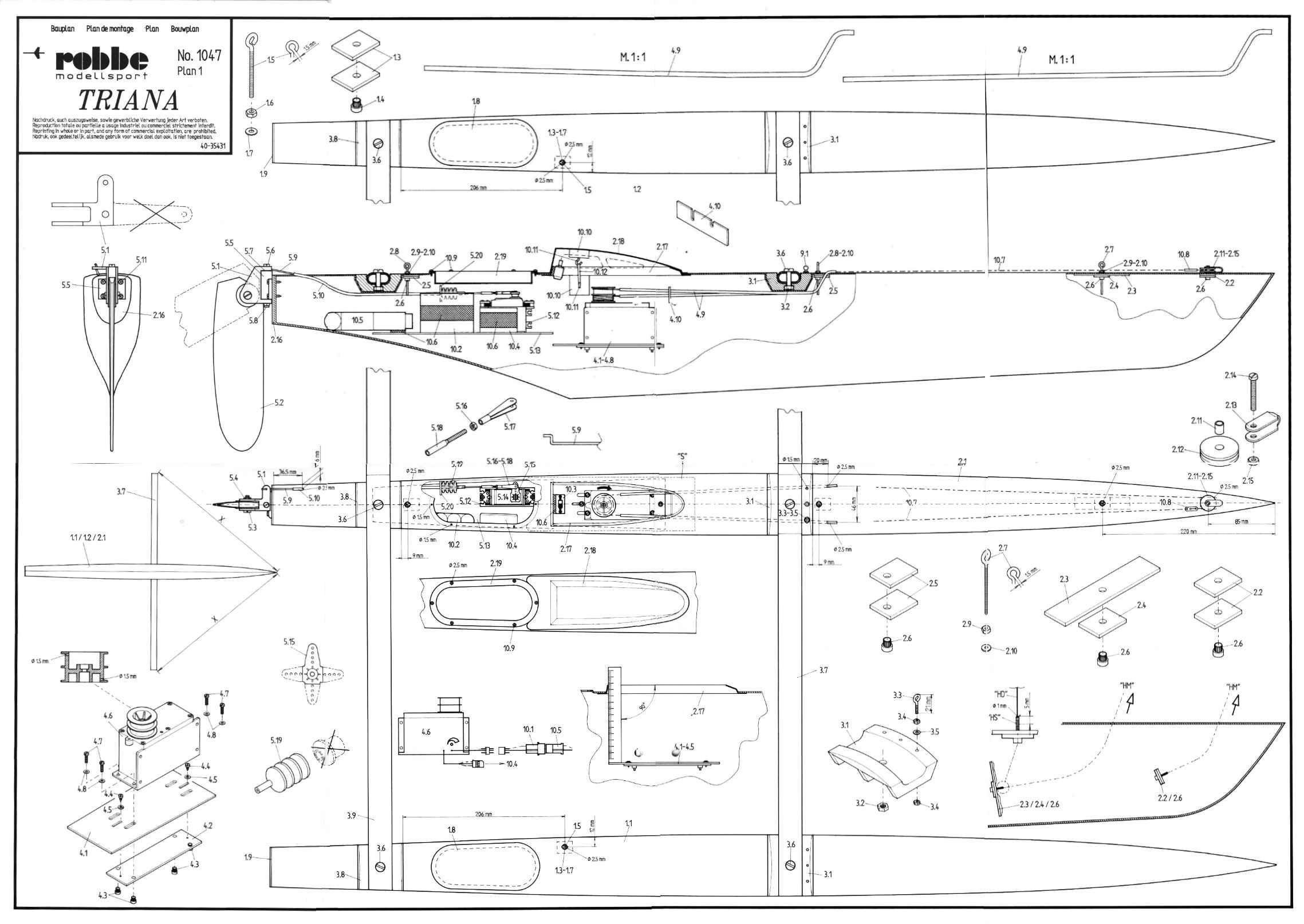 Power Catamaran RC Boat Building Plans