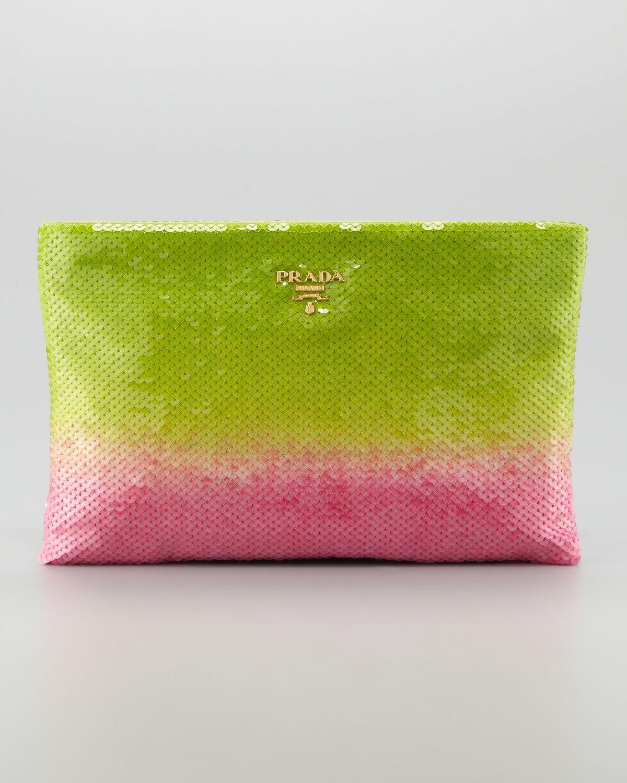 eea90b03f3ad Prada Degrade Sequin Pouch Clutch Bag in Pink (green pink)